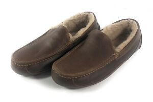 UGG Ascot Leather Slipper Mens Size 11 Shearling Lined Brown Loafer Driving Shoe