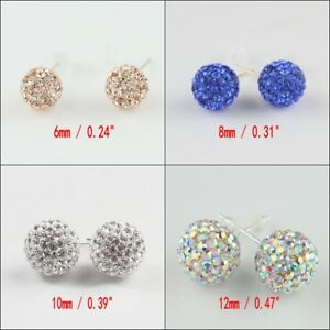 Sparkle-Czech-Crystal-Round-Disco-Ball-Silver-Stud-Earrings-6mm-8mm-10mm-12mm