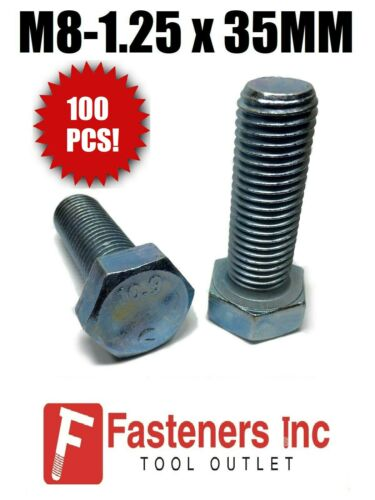 M8-1.25 x 35mm Hex Bolt Zinc Plated Grade 10.9 Cap Screw Metric Qty 100