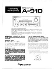 Pioneer A-91D Amplifier Owners Manual