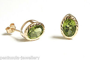9ct-Gold-Peridot-Stud-Oval-Earrings-Gift-Boxed-Studs-Made-in-UK-Christmas-Gift