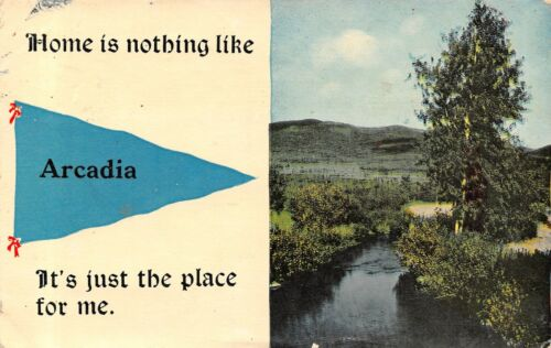 """Home is Nothing Like"" Arcadia WisconsinJust the Place1913 Pennant Postcard"