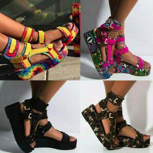 Summer Women Ladies Platform Sandals Open Toe Ankel Strap Print Flat Beach Shoes