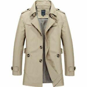 NEW-Men-039-s-Winter-Mid-long-Jacket-Stylish-Fit-Trench-Coat-Jacket-Khaki