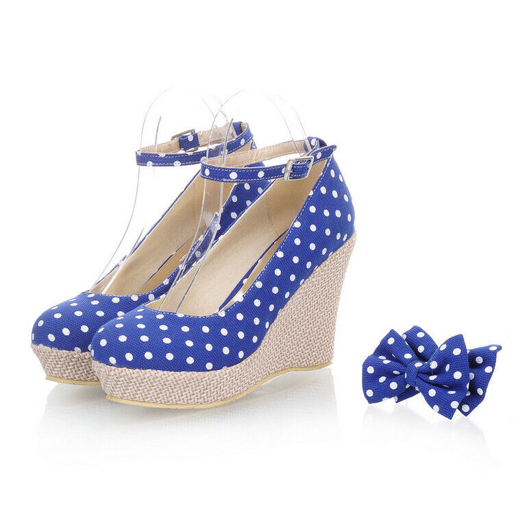 2019 New Polka Dot Bowtie Buckle Sandals Mary Janes shoes Womens Heels Lolita Sz