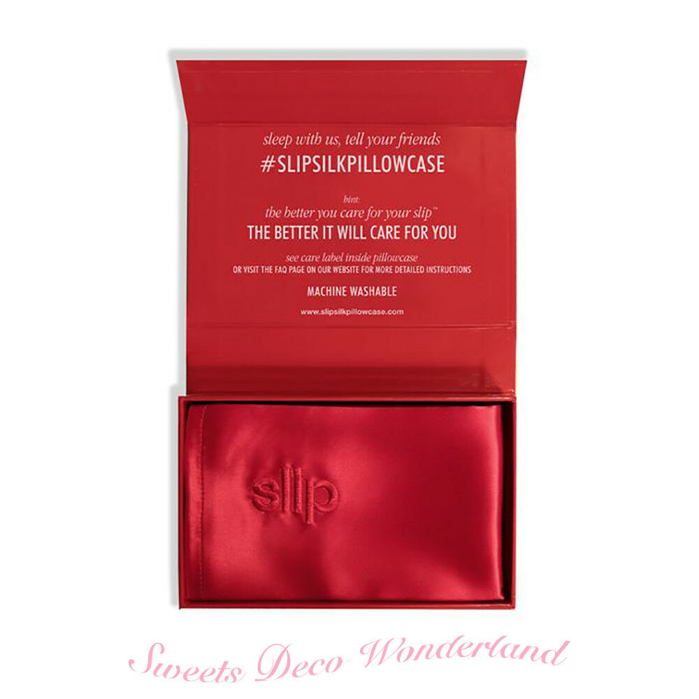 100% BEAUTY AUTHENTIC SLIP FOR BEAUTY 100% SLEEP rosso PURE SILK PILLOWCASE QUEEN SIZE BNIB 7ccb00