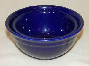 Set-of-2-McCOY-POTTERY-Cobalt-Blue-Serving-Bowls-USA-106-107-VINTAGE