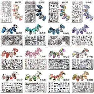 Harunouta-Nail-Art-Image-Stamping-Templates-Rectangle-Nail-Stencil-Plates-Tools