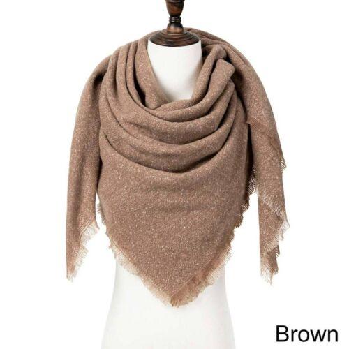 Women Lady Winter Warm Scarf Cashmere Triangle Wrap Shawl Plaid Knit Pashmina