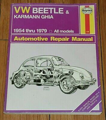 Haynes Manual Workshop VW Beetle Karmann Ghia 1954-1979 Repair Service