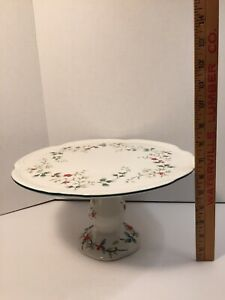 Pfaltzgraff-Winterberry-Pedestal-Large-Cake-Plate-Christmas-Holly-Berries