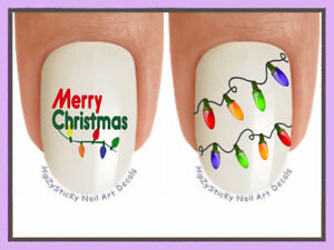 Nail-Decals-816X-CHRISTMAS-034-Holiday-Lights-Merry-034-WaterSlide-Nail-Art-Transfers