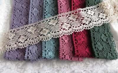 T1M Vintage Estilo 8cm Algodón Crochet Vieira borde de encaje de corte elección de colores