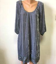 NOA NOA Gr.L 18% SEIDE Samt - Kleid  Blau - Grau 3/4 Ärmel Bestickt