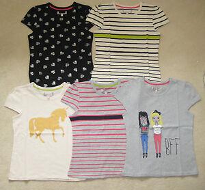filles-MARKS-amp-SPENCER-M-amp-S-Indigo-T-shirt-haut-imprime-rayures-5-14-ans-coton