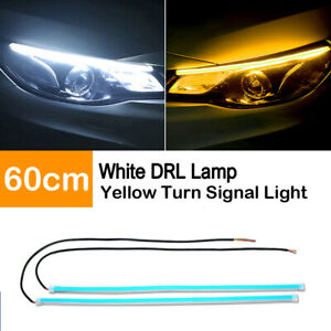 2X-60CM-Slim-Amber-Sequential-Flexible-LED-DRL-Turn-Signal-Strip-Auto-Headlight