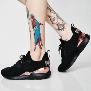 Details about Puma Womens Trainers Black Rosegold Satin Upper Limited  Edition All Sizes Muse