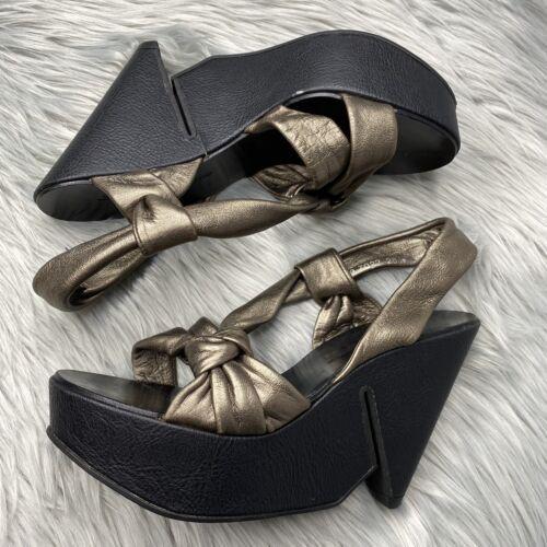 Robert Clergerie 8 Bronze Wedge Heels Leather Stra
