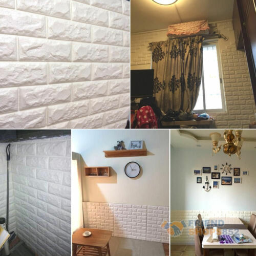 Cute 3D Foam Stone Brick Self-adhesive Wall Sticker Panels Background Decal New