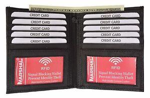 RFID-Signal-Blocking-Leather-European-Hipster-Credit-Card-2-ID-Bifold-Wallet