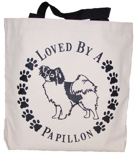 Loved By A Papillon Tote Bag New  MADE IN USA
