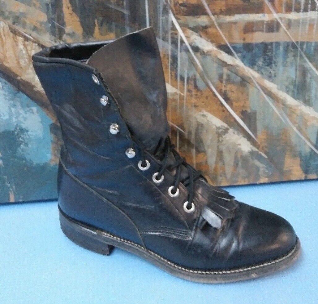 Justin Women's Size 4.5 C Black Leather Lacer Lacer Lacer Roper Cowboy Boots L0506 a34fe9
