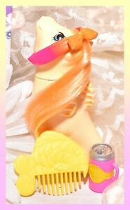 ❤️My Little Pony MLP G1 Vtg BABY Pretty 'n PEARLY SEA PONY Sun Shower & Comb❤️