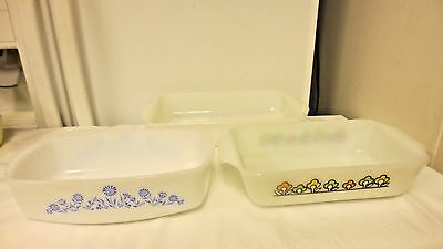 Lot 3 White Milk Glass Loaf Baking Pans or Casseroles-Handled Federal & Fire Kin