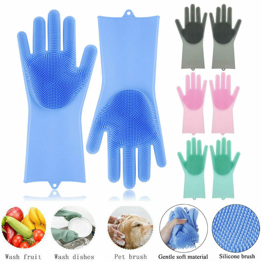 1Pair Silicone Rubber Dish Washing Gloves Magic Scrubber Cleaning Brush Kitchen 2