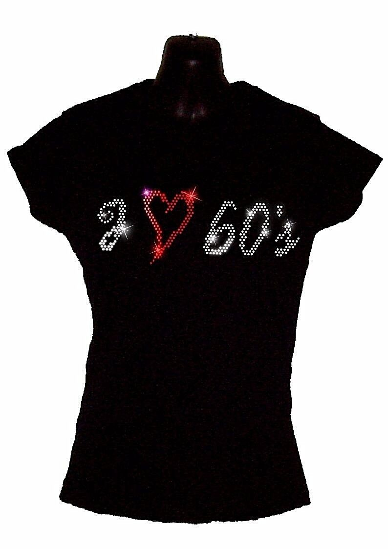 I Love Love I Années 80 Eighties Cintré pour Femmes T Shirt Cristal Strass 78ea4d