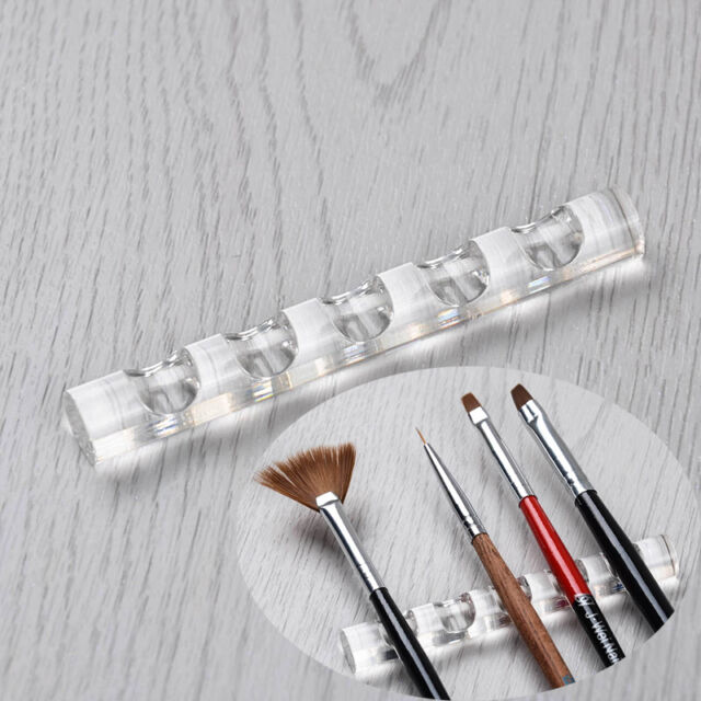 Clear Nail Art Pen Brush Rack Acrylic Stand Holder for 5 Nail Pens
