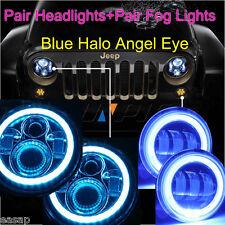 97-15 Jeep Wrangler JK TJ 7'' 45W LED Headlight+4'' 30W Fog Light Halo Kit Blue