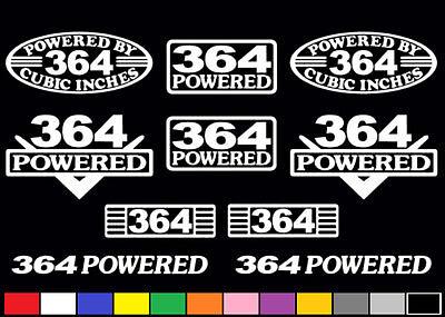 10 DECAL SET 364 CI V8 POWERED ENGINE STICKERS EMBLEMS RATROD 6.0 VINYL DECALS