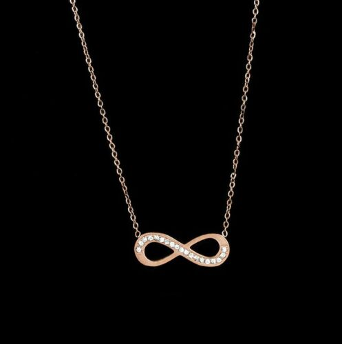 Rose Gold Silver Stainless Steel CZ Love Infinity 8 Symbol Pendant Necklace PE11