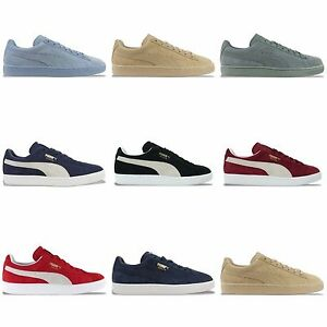 bbd8272cf09 Image is loading PUMA-SUEDE-CLASSIC-TRAINERS-BLACK-BURGUNDY-BLUE-FOG-