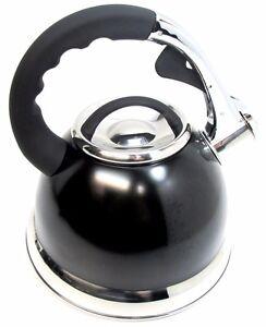 3.5 L Noir Métallique en Acier Inoxydable Siffler Bouilloire gaz et plaques électriques  </span>