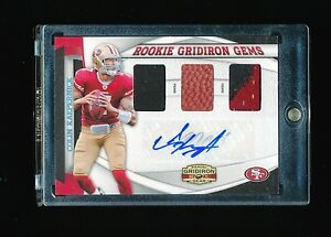 COLIN-KAEPERNICK-2011-PANINI-GRIDIRON-GEAR-49ERS-PATCH-JERSEY-BALL-AUTO-RC-03-20