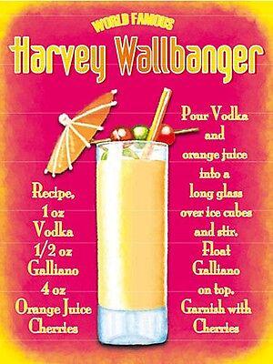 Harvey Wallbanger Cocktail Recipe small steel sign 200mm x 150mm  (og)