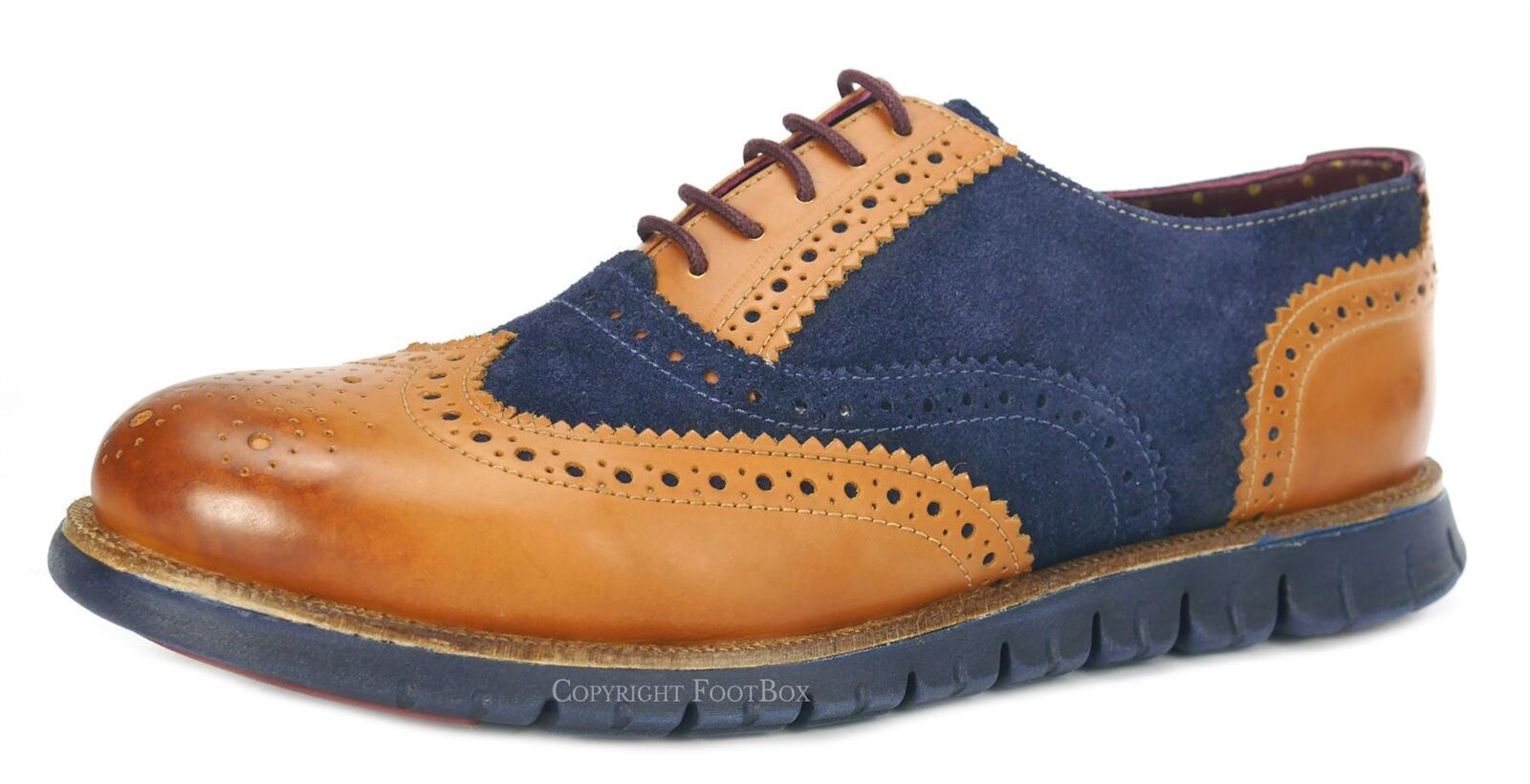 London Brogues Gatz Mens Brogues Oxford Ultra Lightweight schuhe Tan   Navy Suede