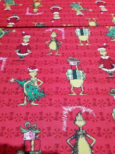New 100/% Cotton Dr.Seuss Enterprises How the Grinch Stole Christmas Design