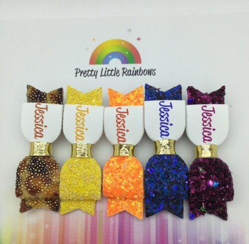 """Qualsiasi Nome 5 x Glitter per Capelli con Fiocco AUTUNNO * 2/"""" personalizzato Glitter Fiocco BUNDLE"""
