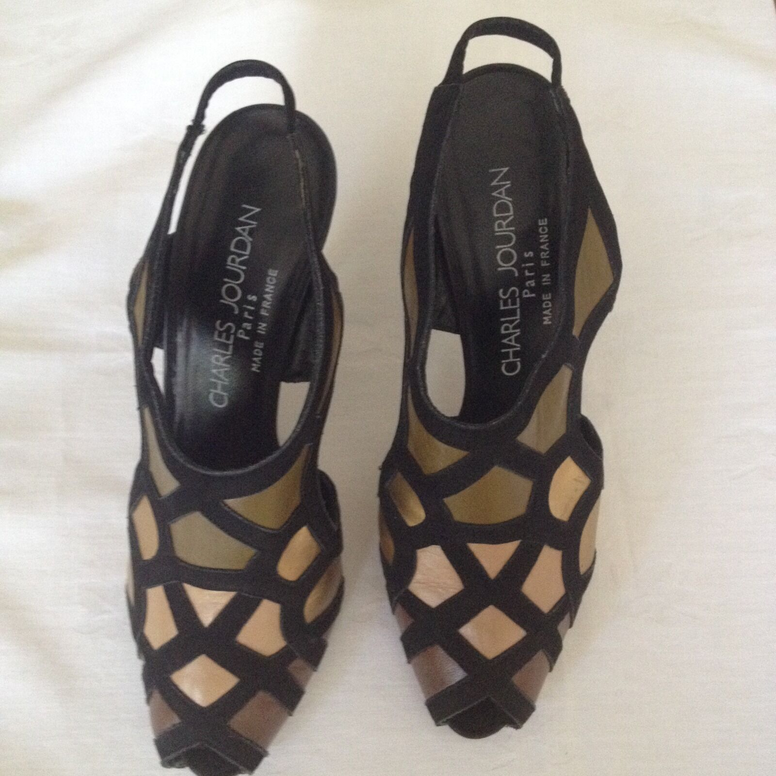 VINTAGE Charles Jourdan black khaki gold leather high heel shoes (SIZE 39)