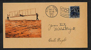 Wright Brothers First Flight Autograph Reprint Orig. Period 1903 3X6 Card *96