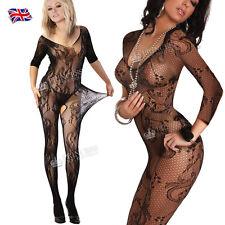 UK Plus + Size Fishnet Open Bust Bodystocking Lingerie Nighties Catsuit FH2