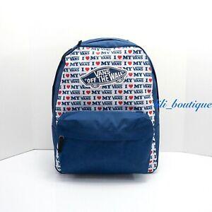 NWT Vans Realm Backpack School Laptop Bag VN0A3UI6UWF I Love My Vans Blue Multi