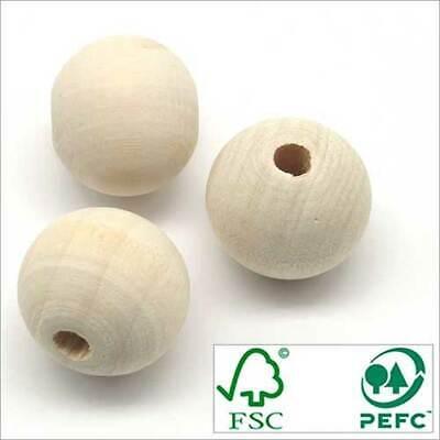 500 1000 100 Perles Boules en Bois BRUT Erable FSC 20mm Quantité au Choix 20