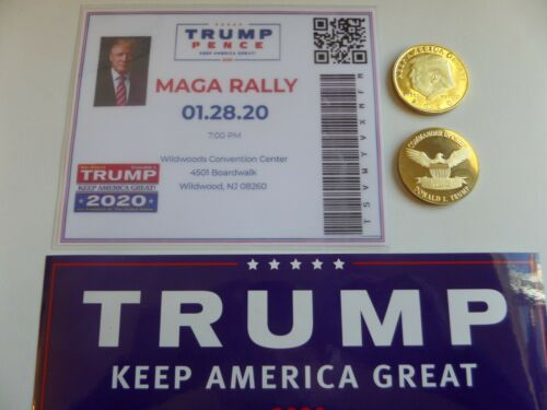 MAGA NJ RALLY- WILDWOOD 01-28-2020 TICKET-BUMPER STICKER /& COIN DONALD TRUMP