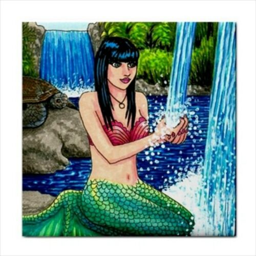 Large Ceramic tile 6x6 Mermaid Fantasy various designs art painting by L.Dumas