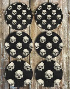Skulls-Drink-Coasters-Set-of-6-Non-Slip-Neoprene