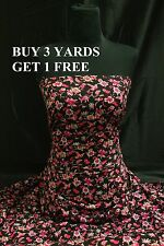 Medium Pink Purple Black Rose Flowers Print Poly Viscose Fabric Material Dress